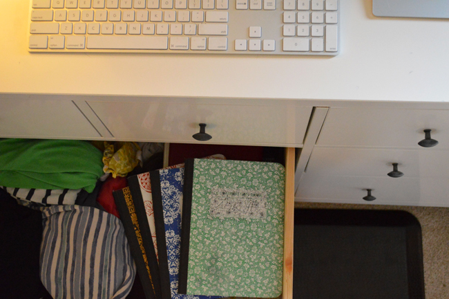 notebooks in drawer